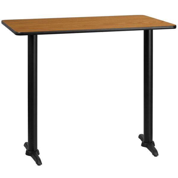 Flash Furniture 30'' x 48'' Rectangular Natural Laminate Table Top with 5'' x 22'' Bar Height Table Bases