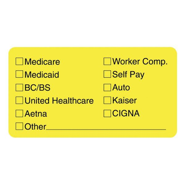 Tabbies Medical Office Insurance Check Labels