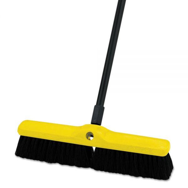 "Rubbermaid Commercial Medium Floor Sweeper, Polypropylene/Tampico, 18"" Brush, 3"" Bristles, Black"