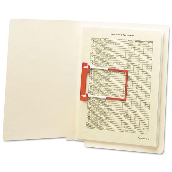"Smead U-Clip Bonded File Fasteners, 2"" Capacity, Orange and White, 100/Box"