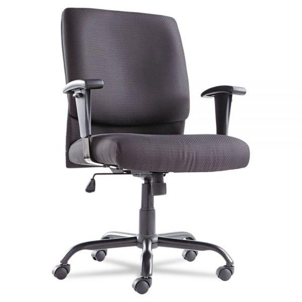 OIF Big and Tall Swivel/Tilt Mid-Back Chair, Height Adjustable T-Bar Arms, Black