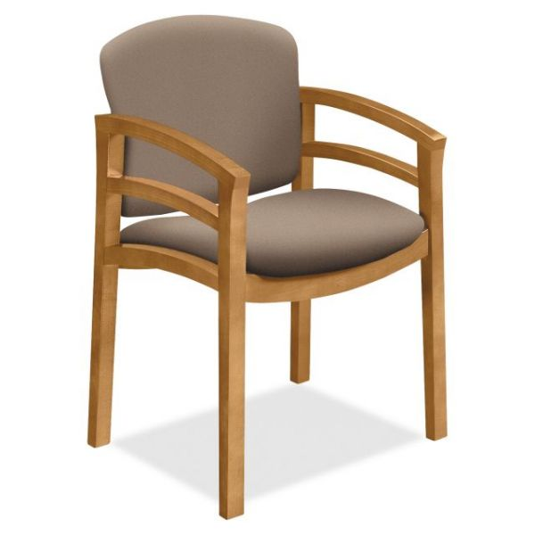 HON 2112 Double Rail Arms Harvest Wood Guest Chair