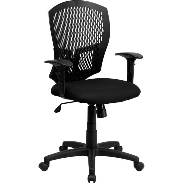 Flash Furniture Mid-Back Designer Back Task Chair with Height Adjustable Arms