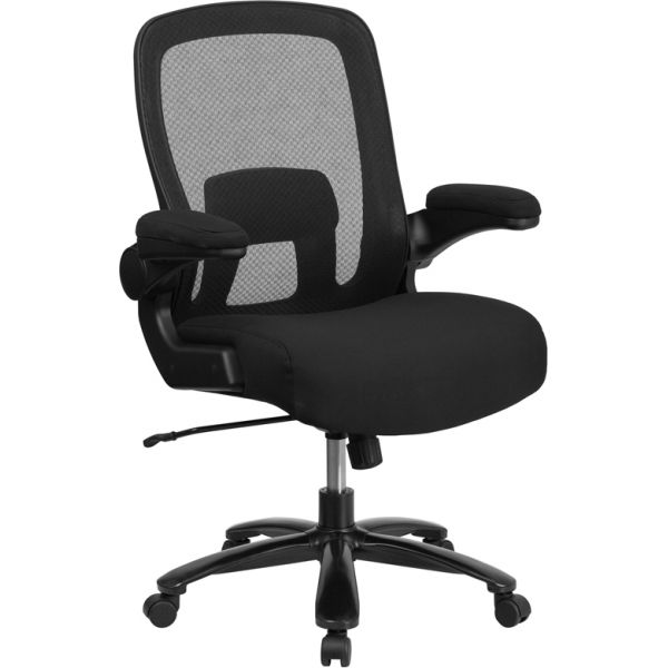 Flash Furniture HERCULES Series Big & Tall Mesh Executive Swivel Chair with Adjustable Lumbar & Flip-Up Arms