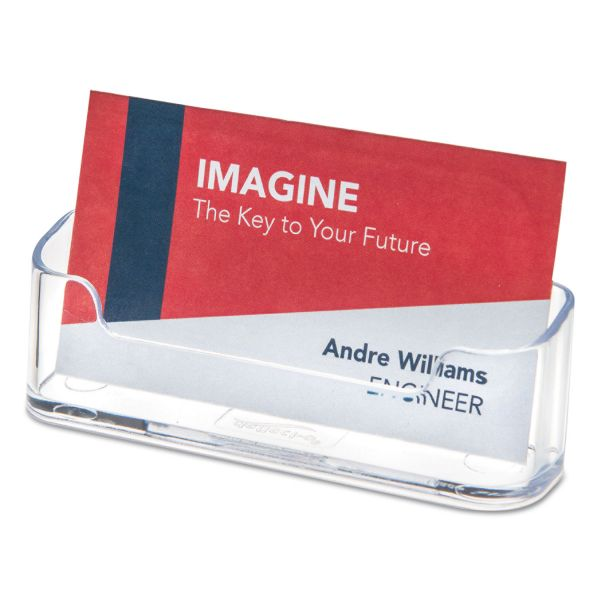 deflecto Horizontal Business Card Holder, Holds 50 2 X 3 1/2 Cards, Clear