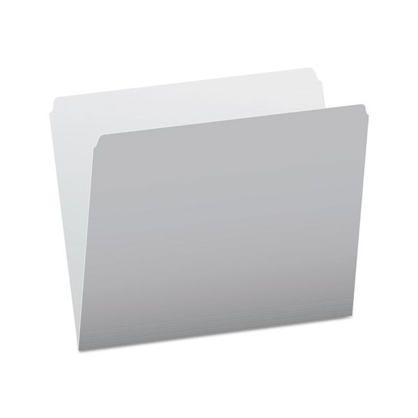 Pendaflex Colored File Folders, Straight Cut, Top Tab, Letter, Gray/Light Gray, 100/Box