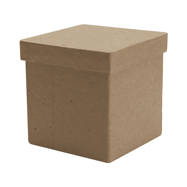 Paper-Mache Tall Square Box With Lid