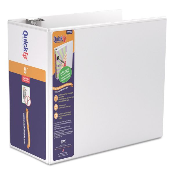 """Stride QuickFit 3-Ring View Binder, 5"""" Capacity, D-Ring, White"""