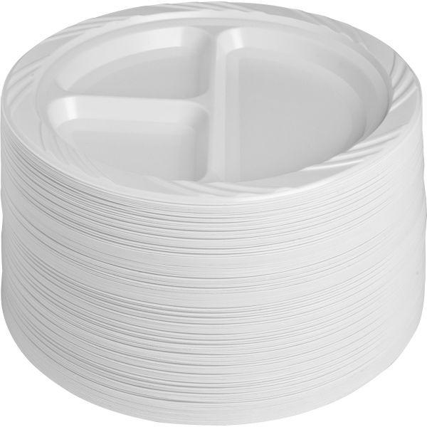 Genuine Joe 3-Section Plastic Plates