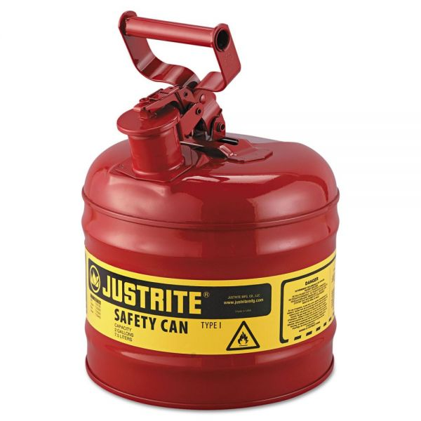 JUSTRITE Safety Can, Type I, 2gal, Red