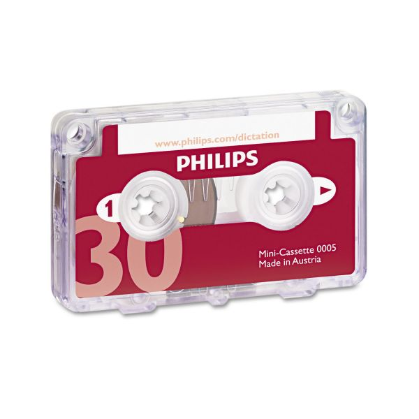 Philips Audio & Dictation Mini Cassette, 30 Minutes (15 x 2), 10/Pack