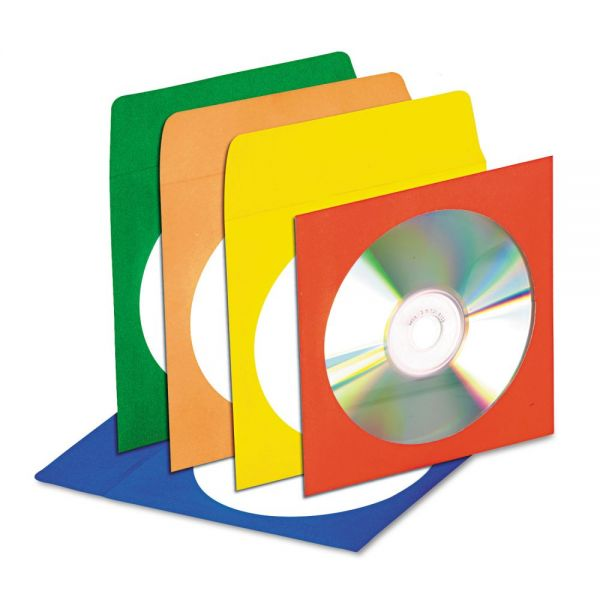 Innovera CD/DVD Envelopes with Clear Window, Blue/Green/Orange/Red/Yellow, 50 per Pack