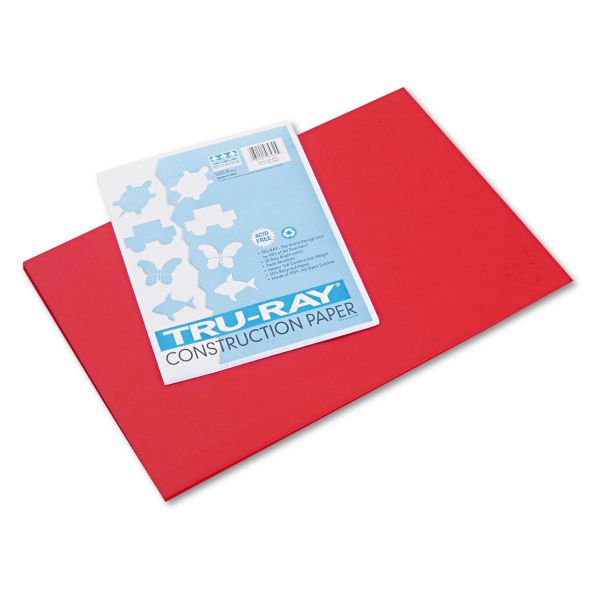 Pacon Tru-Ray Construction Paper, 76 lbs., 12 x 18, Festive Red, 50 Sheets/Pack