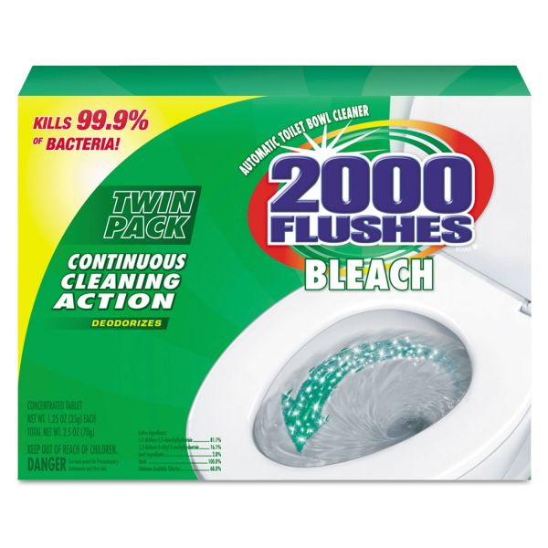 WD-40 2000 Flushes Plus Bleach, 1.25oz, Box, 2/Pack, 6 Packs/Carton