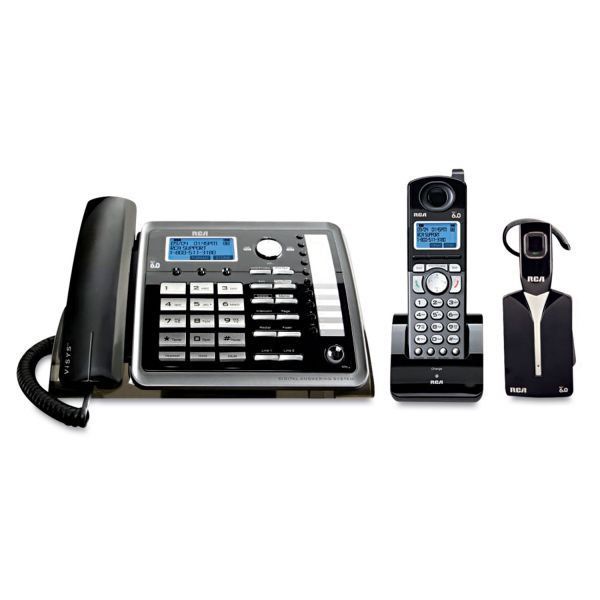 RCA 25270RE3 DECT Cordless Phone - Black, Silver