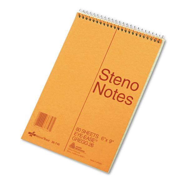 National Standard Spiral Steno Book, Gregg Rule, 6 x 9, Green, 80 Sheets