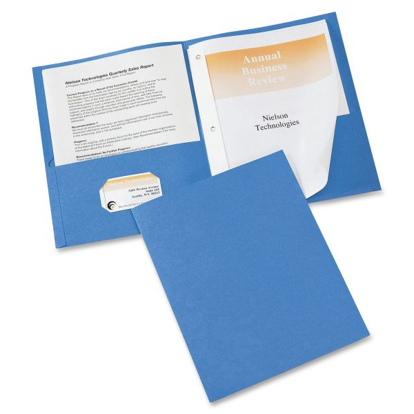 Avery Two-Pocket Folder with Prong Fasteners, 50-Sheet Capacity, Light Blue, 25/Box