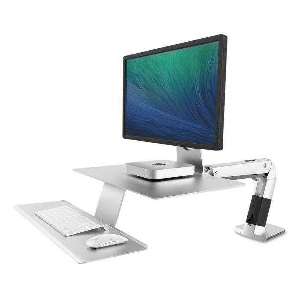 Ergotron WorkFit-A Sit-Stand Workstation w/Suspended Keyboard, Apple iMac, Platinum