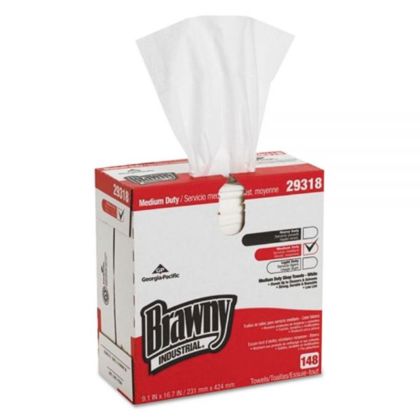 Brawny Industrial Light Weight HEF Disposable Shop Towels, 9.1 x 16.7, White, 148/Box, 10/Carton