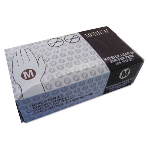 Inteplast Group Powder Free Nitrile Gloves, Medium, Blue, Disposable, 100/Box, 10/Carton
