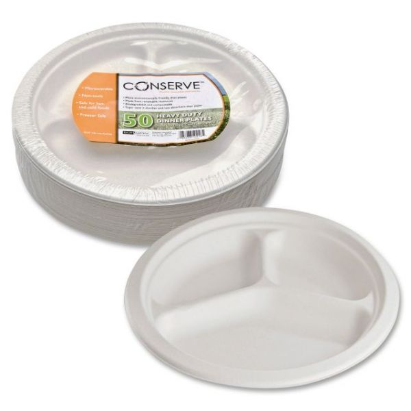 "Conserve Heavy-Duty 10"" Bagasse Compartment Plates"