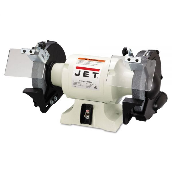 JET JBG-8A Industrial Bench Grinder, 8in Wheel, 1hp, 3,450 rpm