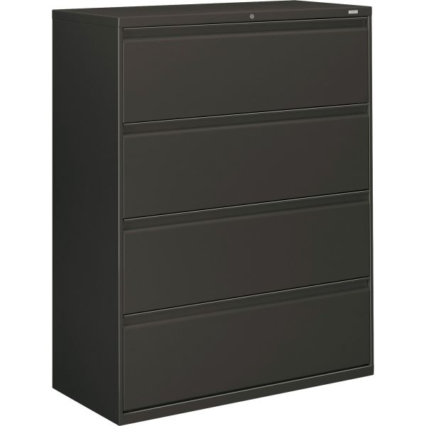 "HON Brigade 800 Series 4-Drawer Lateral File Cabinet, Letter/Legal/A4, 42"" Wide, Charcoal"