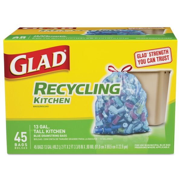 Glad Tall Kitchen Blue 13 Gallon Recycling Bags