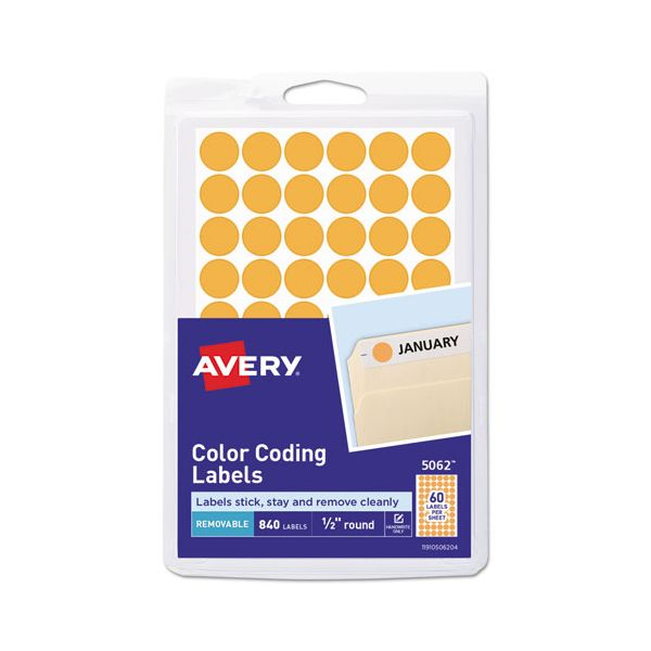 "Avery Handwrite Only Removable Round Color-Coding Labels, 1/2"" dia, Neon Orange,840/PK"