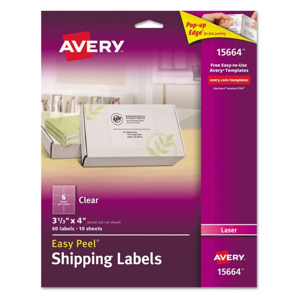 Avery Easy Peel Clear Shipping Labels