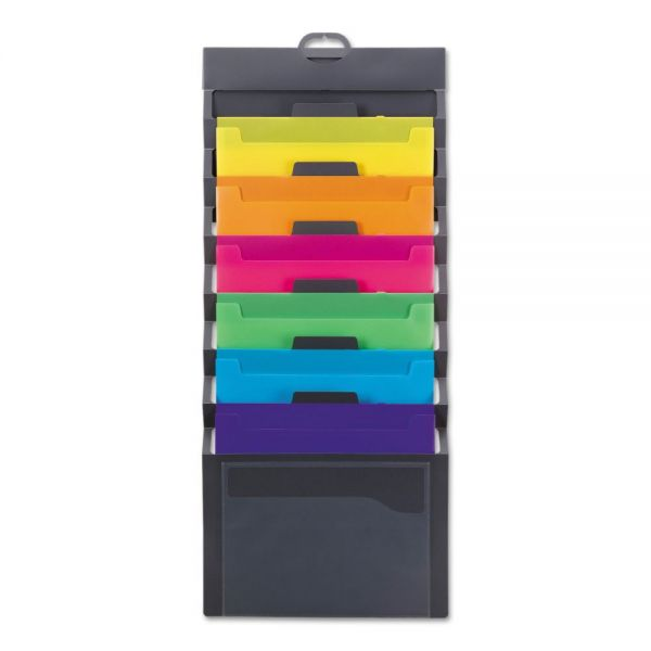 Smead Cascading Wall Organizer, 14 1/4 x 33, Letter, Gray with 6 Bright Color Pockets