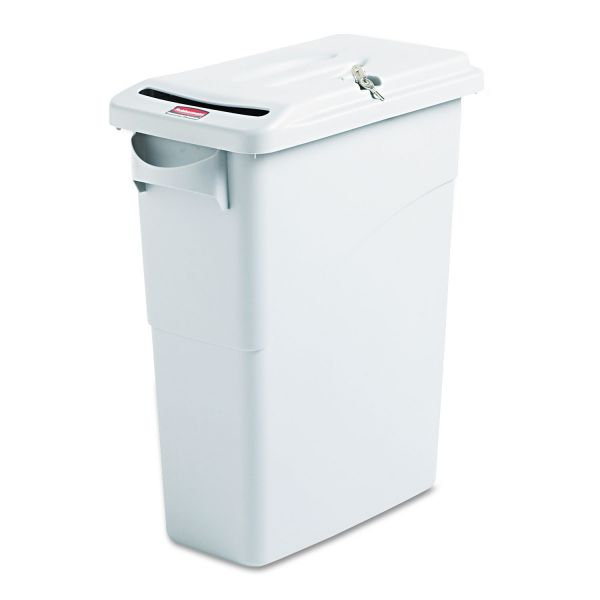 Rubbermaid Commercial Slim Jim Confidential 15 7/8 Gallon Trash Cans with Lids