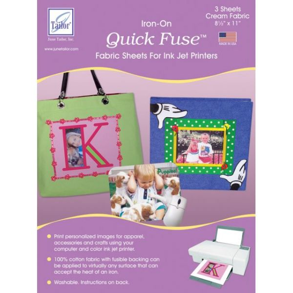 "Quick Fuse Iron-On Ink Jet Fabric Sheets 8.5""X11"" 3/Pkg"