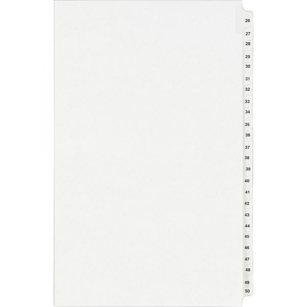 Avery-Style Legal Exhibit Side Tab Divider, Title: 26-50, 14 x 8 1/2, White