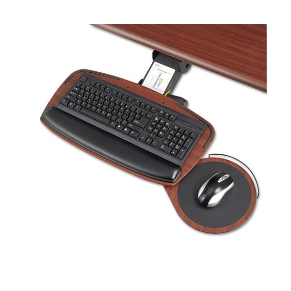 "Safco Adjustable Keyboard Platform with Swivel Mouse Tray/Control Zone, 21"", Mahogany"