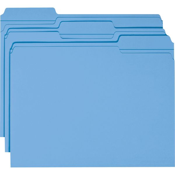 Smead Blue Colored File Folders with Reinforced Tab