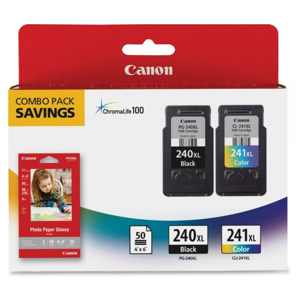 Canon PG-240XL/CL-241XL/GP-502 Combo Pack (240XCL241XL)