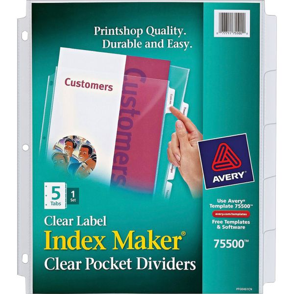 Avery Index Maker Print & Apply Clear Label Sheet Protector Dividers, 5-Tab, Letter