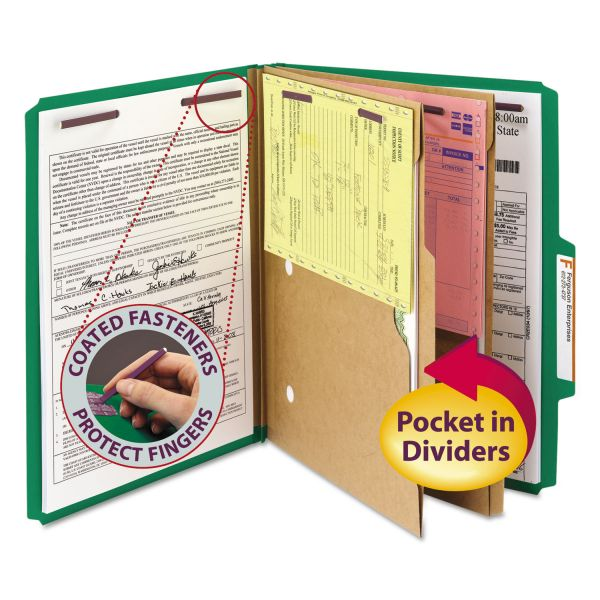 Smead SafeSHIELD 2-Divider Pressboard Classification Folders with Pocket Dividers