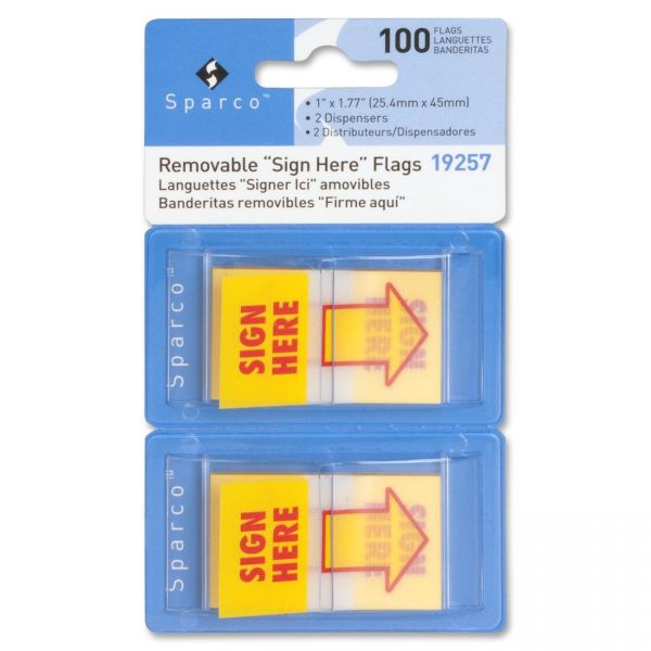 """Sparco 1"""" Arrow """"Sign Here"""" Flags"""