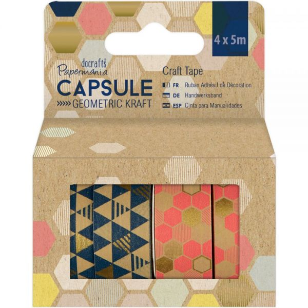 Papermania Geometric Kraft Craft Tape 4/Pkg