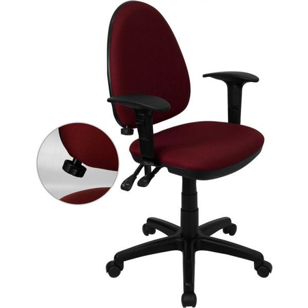 Flash Furniture Mid-Back Multi-Functional Task Chair with Adjustable Lumbar Support and Height Adjustable Arms