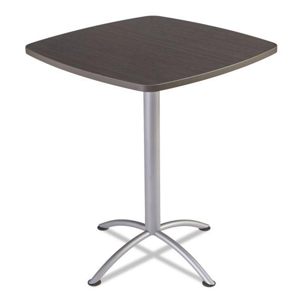 """Iceberg iLand Table, Contour, Square Bistro Style, 36"""" x 36"""" x 42"""", Gray Walnut/Silver"""