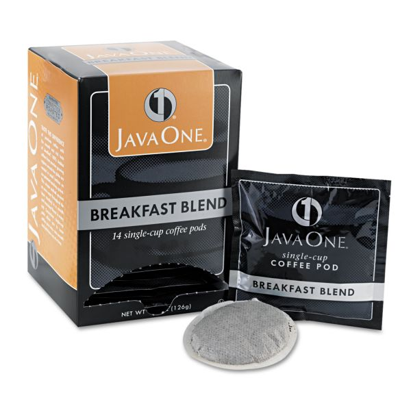 Java One Coffee Pods, Breakfast Blend, Single Cup, 14/Box