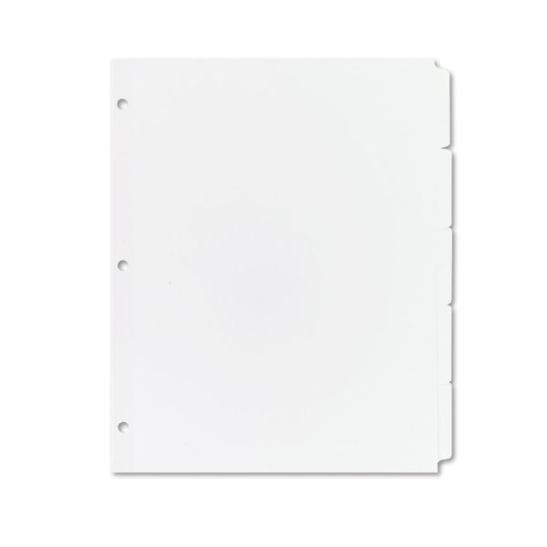 Avery Write-On Plain-Tab Dividers, 5-Tab, White Tab, Letter, 36 Sets