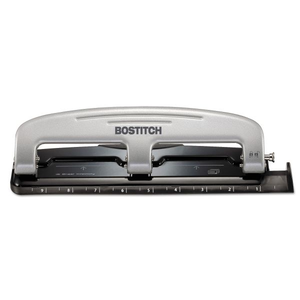 PaperPro 12-Sheet inPRESS 12 Three-Hole Punch, Black/Silver