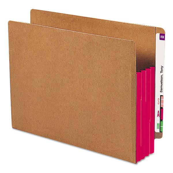 Smead Extra Wide End Tab File Pockets with Reinforced Tabs and Colored Gussets