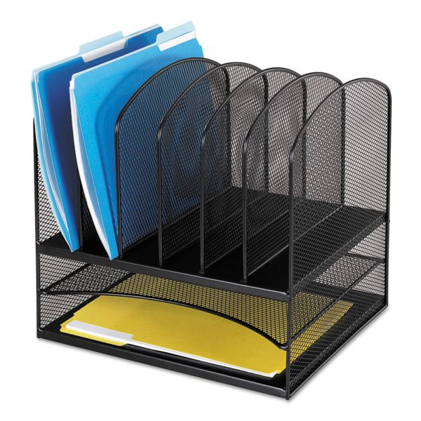 Safco Mesh Desk Organizer, Eight Sections, Steel, 13 1/2 x 11 3/8 x 13, Black