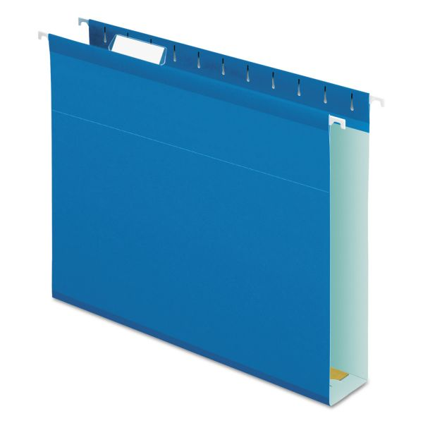 "Pendaflex Reinforced 2"" Extra Capacity Hanging Folders, 1/5 Tab, Letter, Blue, 25/Box"