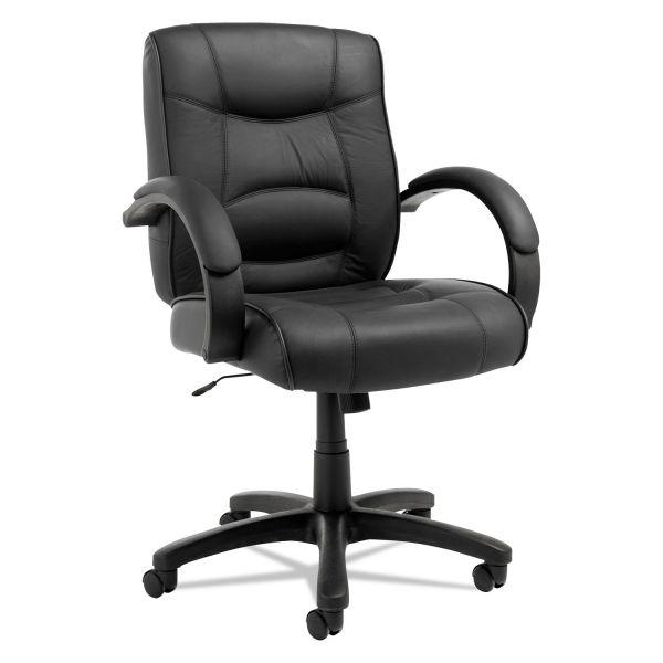 Alera Strada Series Leather Mid-Back Swivel/Tilt Office Chair